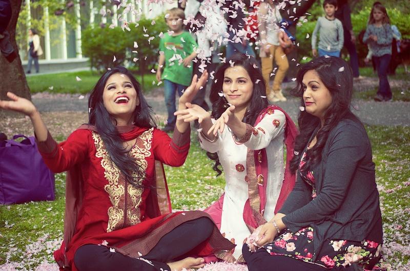 Happy Indian women in pink saree
